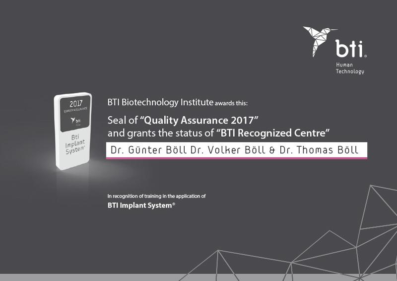Award BTI Implantologie Dr. Thomas Böll