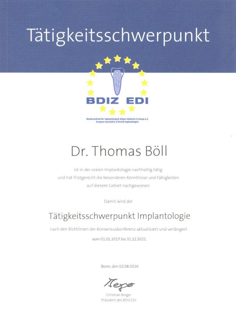 Zertifizierung Implantologie Dr. Thomas Böll